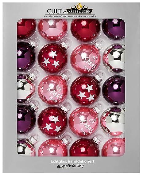 Christbaumkugeln Amazon.Heitmann Deco Krebs Sohn 20er Set Glas Christbaumkugeln Weihnachtsbaum Deko Zum Aufhangen Weihnachtskugeln 5 7 Cm Rot Rosa Silber