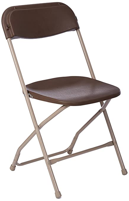 PRE SALES 2190 Brown Plastic Folding Chair With Neutral Metal Frame