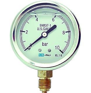 """Druck Anzeige Manometer Druckanzeige 1//4/"""" 0-10 bar Ø 50mm Anschluss unten mittig"""