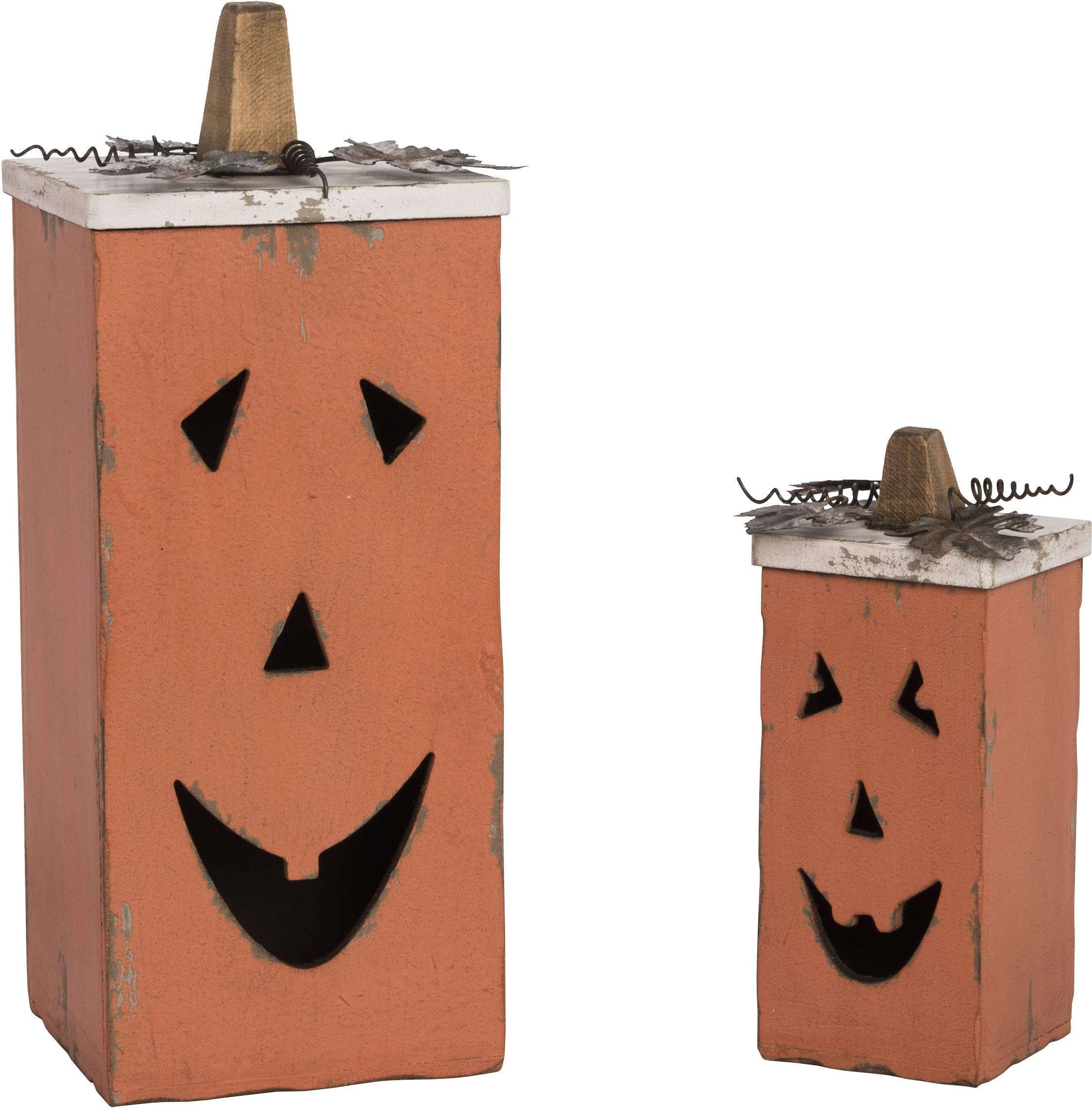 Pumpkin Rustic Orange 15 x 6 MDF Wood Halloween Canister Containers Set of 2