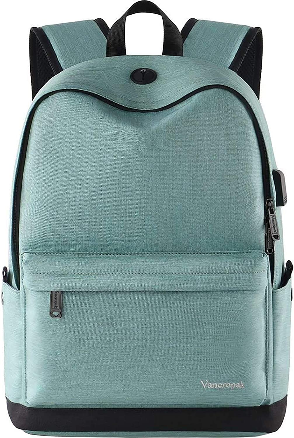 Vancropak Water Resistant Backpack for 17inch Laptop,College School Bookbag for Teen Girls Back Pack with USB Charging Port,Canvas Backpack for Women Storage Notebook Daypack for High School Students