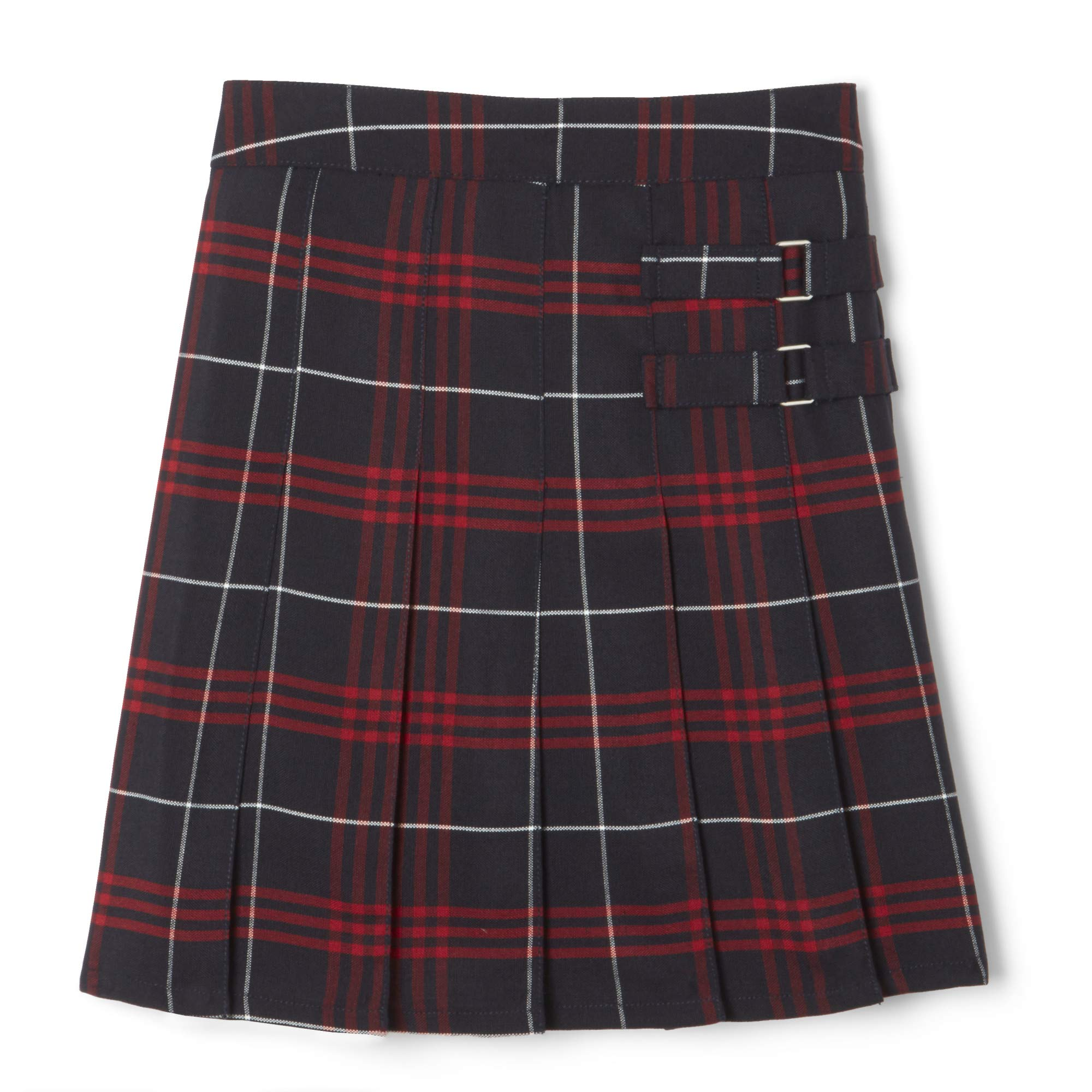 French Toast  Girls' Plaid Two-Tab Scooter skirt, Navy & Red Plaid, 7,Big Girls