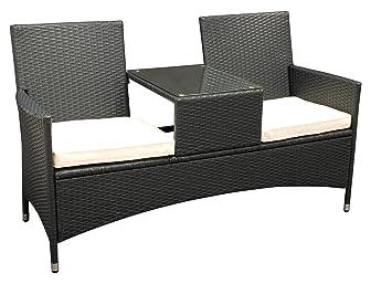 GroBartig DEGAMO Tete à Tete Bank SAN VINCENZO 2 Sitzer, Stahl + Polyrattan