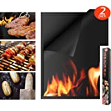 """Houseasy BBQ Grill Mat - Set of 2 Non-Stick Grilling Mats Barbecue Pad, FDA-Approved, PFOA Free, Reusable and Easy to Clean, (16"""" x 13"""")"""