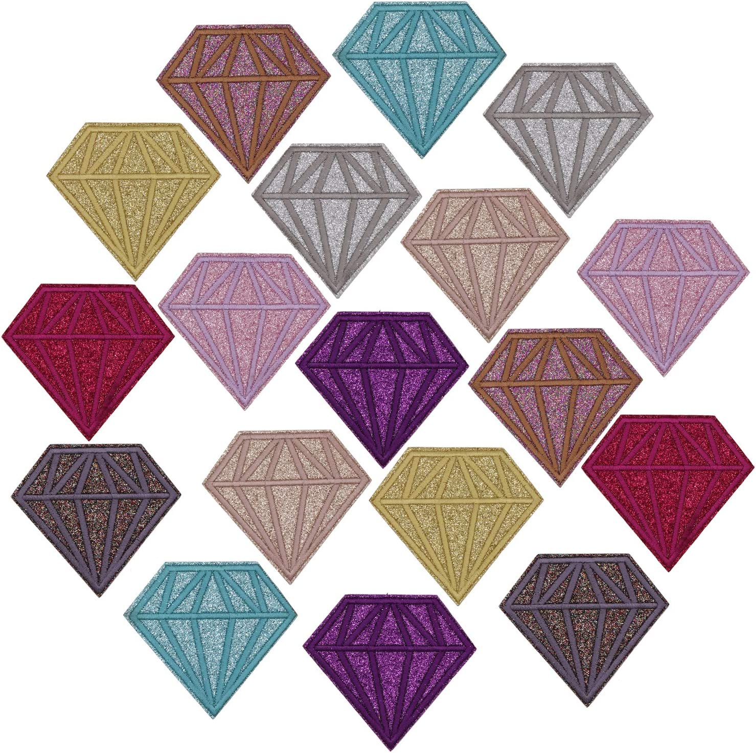 9pcs//Set Diamond Embroidered Patches Iron on Clothing Fabric DIY Appliques Mixed