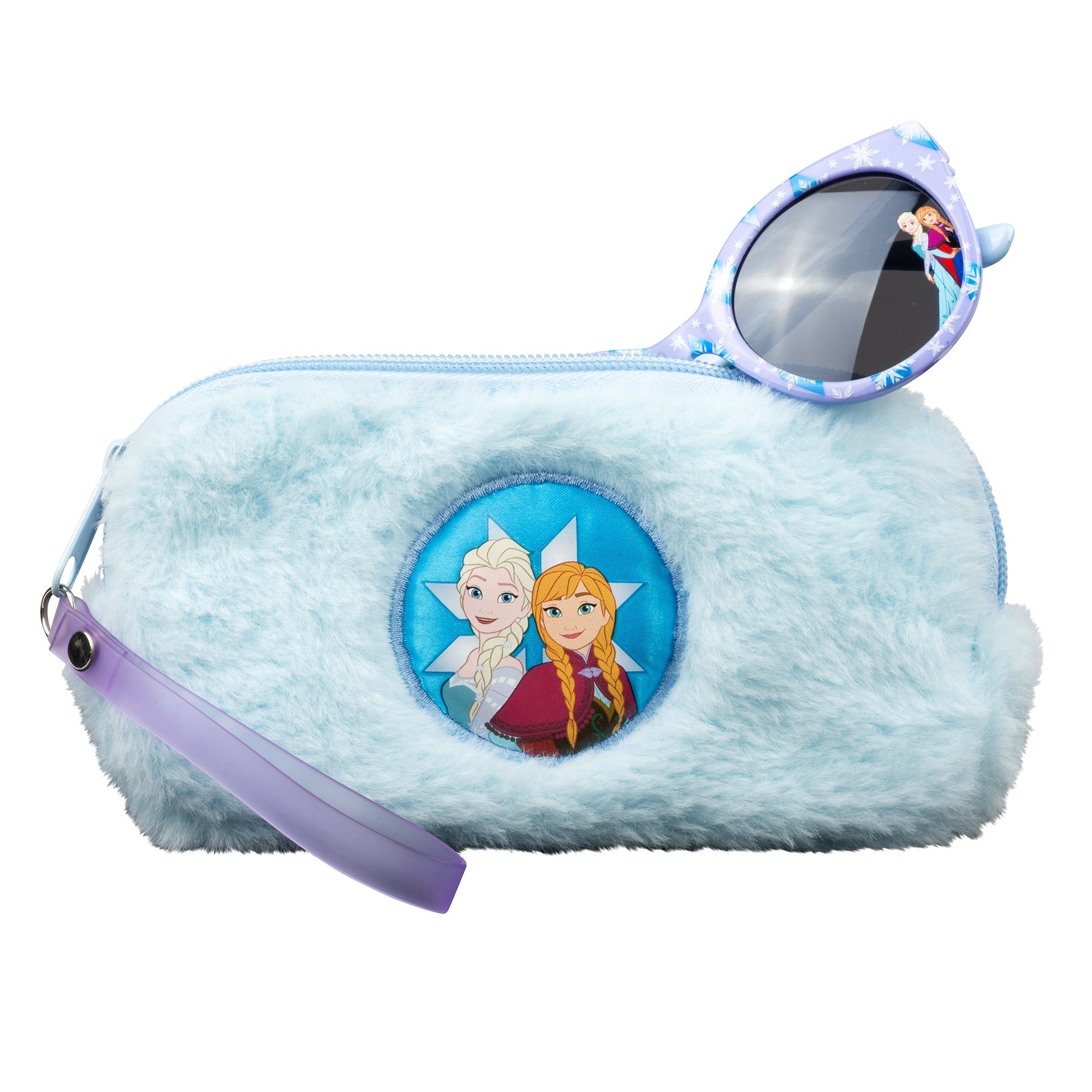 Frozen Sunglasses &Soft Fuzzy Carrying Case Set for Girls - 100% UV Protection for Kids