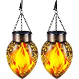TomCare Solar Lights Outdoor Metal Flickering Flame Solar Lantern Outdoor Hanging Decorative Lanterns with Hanging Chain Sola