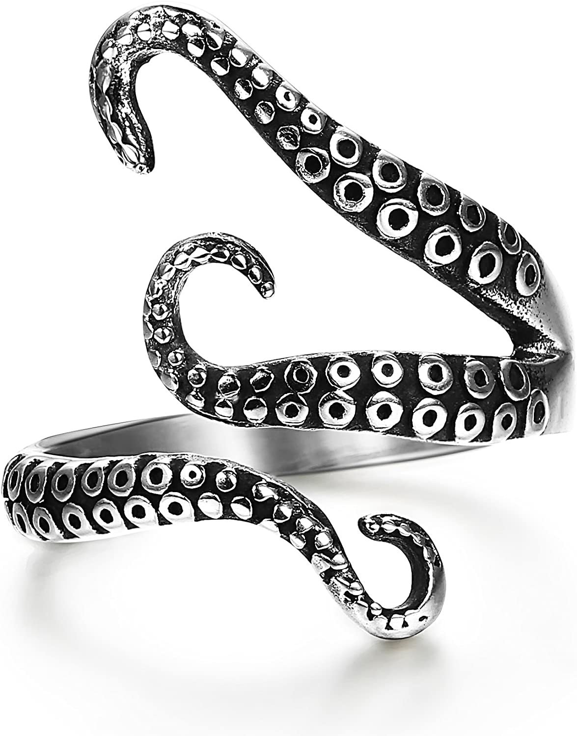 FIBO STEEL Stainless Steel Octopus Shape Rings for Men Women Vintage Rings,Size 7-13