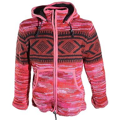 148c77ec2ce8 Kunst und Magie Hippie Goa Nepal Strickjacke Poncho Woll-Pullover in Pink  mit Abnehmbarer Zipfelkapuze  Amazon.de  Bekleidung