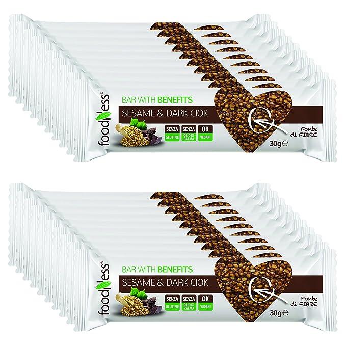 20 Barritas de Cereales con Semillas de Sésamo con Chocolate Negro Foodness. Snacks Deliciosos y