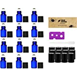 Premium Vials,12pcs, Cobalt Blue, 3 ml Glass Roll-on Bottles with Stainless Steel Roller Balls - 1 Dropper and 1 Opener included, Refillable Aromatherapy Essential Oil Roll On (3ml)