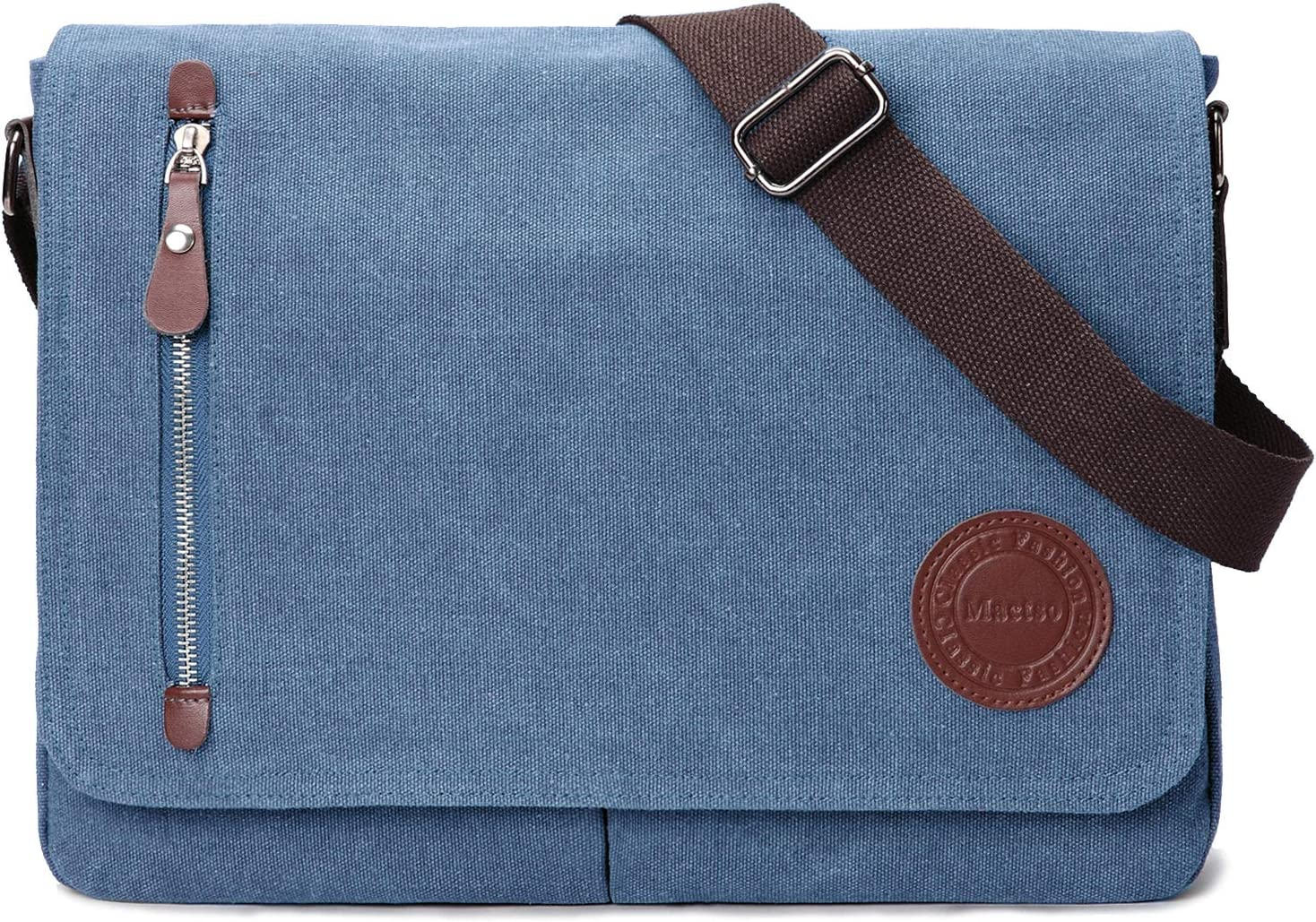 "Vintage Canvas Satchel Messenger Bag for Men Women,Travel Shoulder bag 13.5"" Laptop Bags Bookbag (Blue)"