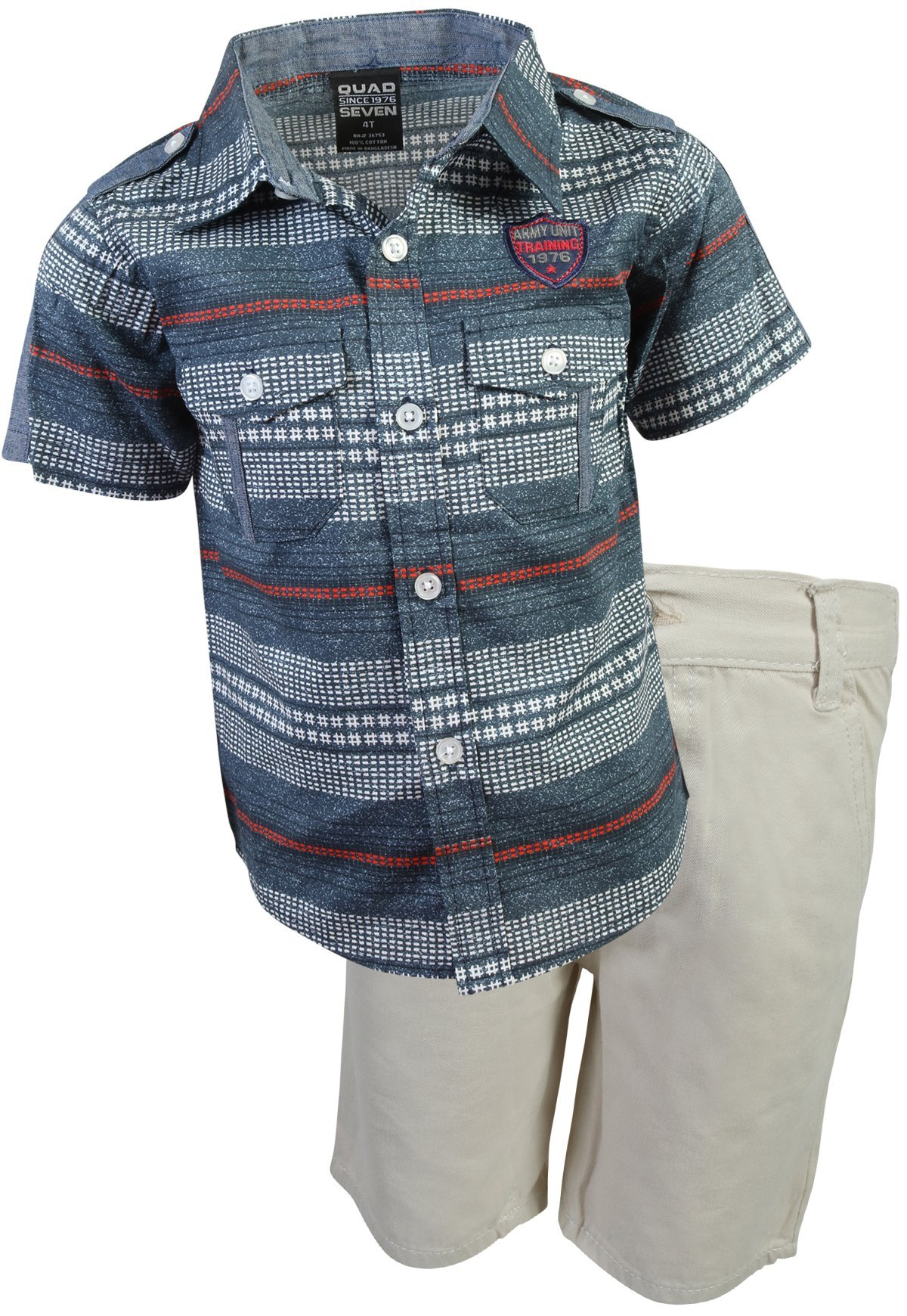 Quad Seven Boys Short Set Woven Top and Twill Shorts, Blue Denim/Stone, Size 5/6'