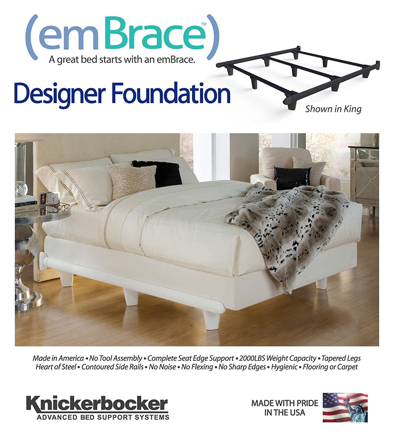 Amazon.com: Knickerbocker Embrace Bed Frame In White   Queen Size: Kitchen  U0026 Dining