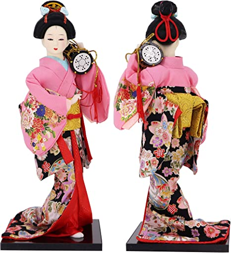 """JG.Betty 12/"""" 30cm Japanese Folk Kimono Geisha Doll Maiko Doll Puppet Stand on Base for Decorative Home and Hotel Gifts Doll 12 inch, Multicolored"""