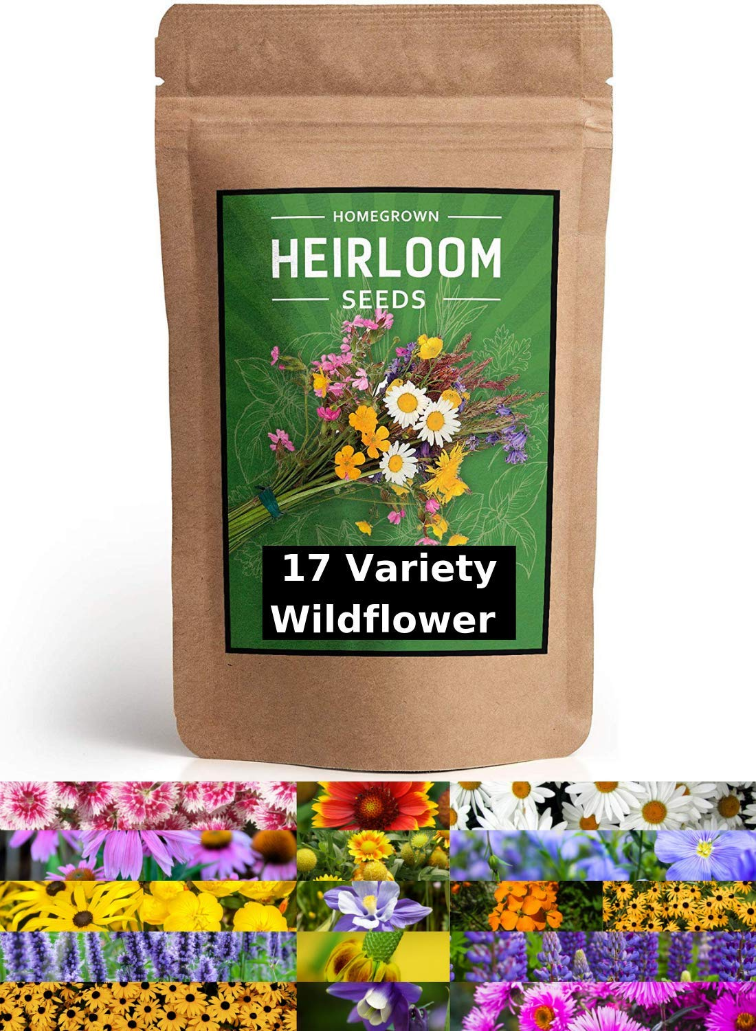 Wildflower Seeds - Flower Seed Pack [17 Variety] - Perennial Flower Seeds for Attracting Birds & Butterflies - Flower Seeds for Planting Outdoor - Non GMO, Open Pollinated - Flower Garden Seeds by homegrown