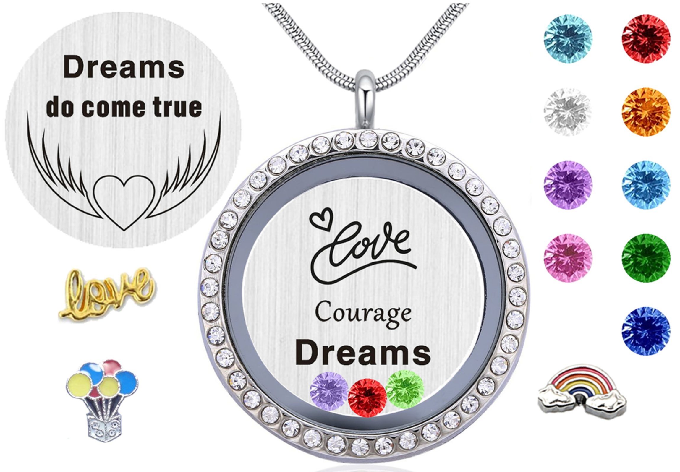 Best Gift for Women Girls, ''Dream Love Courage'' Floating Charms Glass Living Memory Locket Pendant Necklace