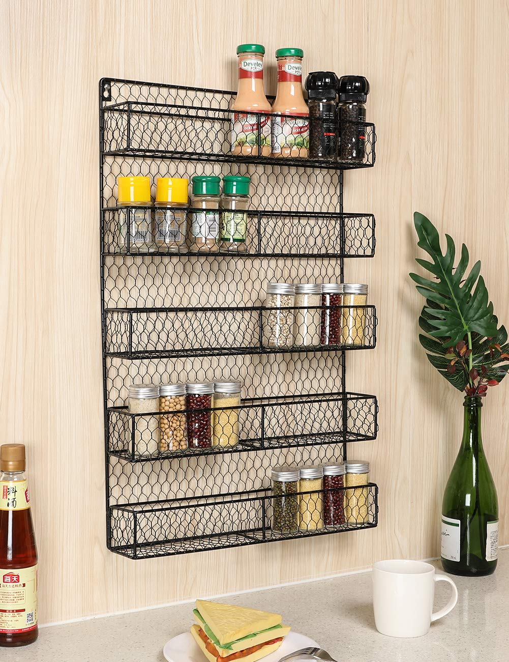 IZLIF Spice Rack Organizer 5 Tier Country Rustic Chicken Herb Holder | Wall Mounted Storage Rack for Storing Spices Household Items,Black by IZLIF