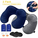 Travel Pillow, MLVOC Inflatable Neck Pillow with Ear Plugs, Eye Mask, Drawstring Bag and Soft Velvet Neck Support for (blue+grey)