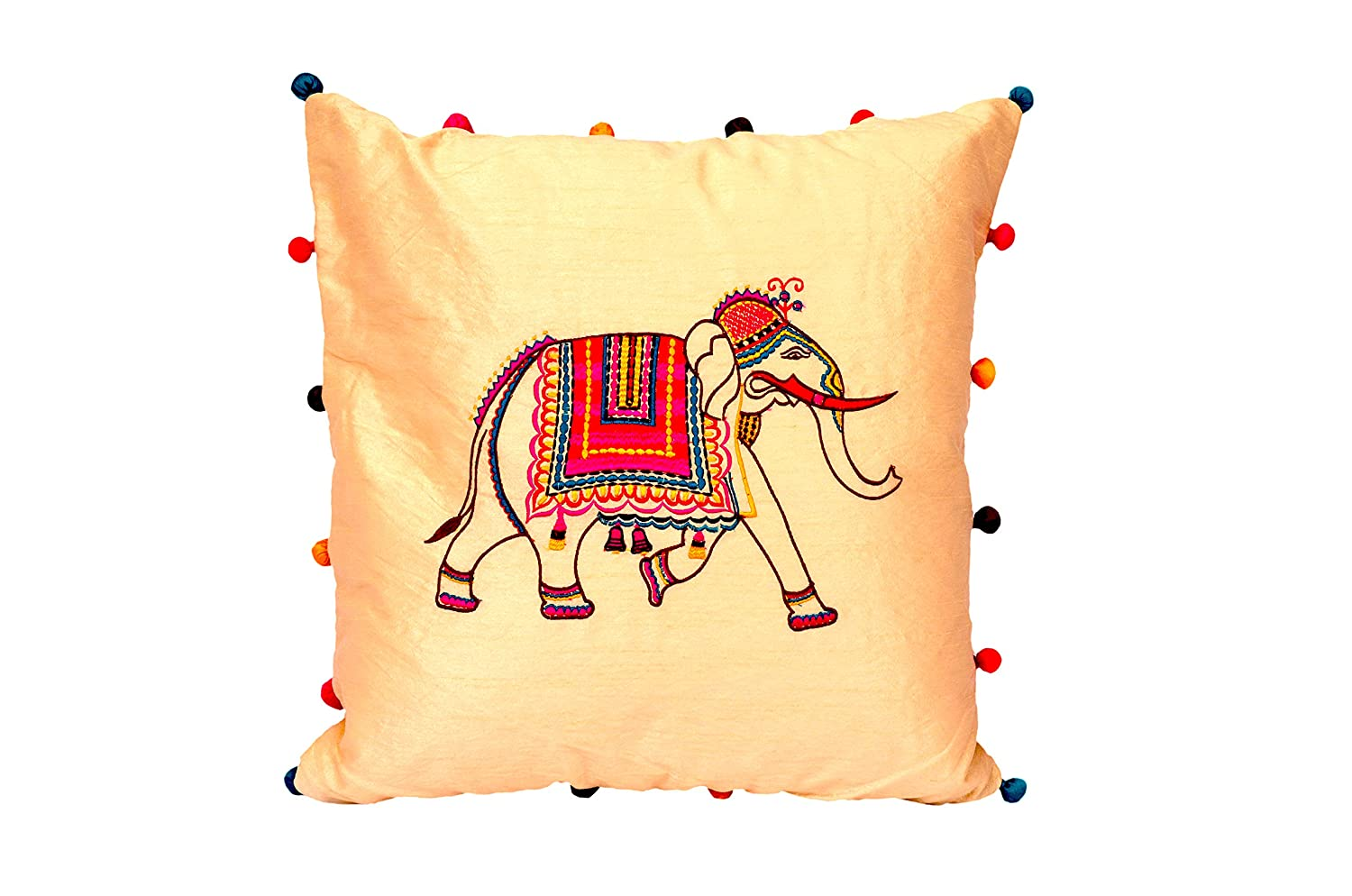 Handmade Cushion Cover Case Indian Elephant Embroidery Design Silk