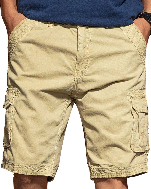JoJoJoy Men's Casual Loose Fit Cargo Shorts, Straight Multi-Pocket Cotton Outdoor Wear Upgrade Khaki Size 34 by JoJoJoy