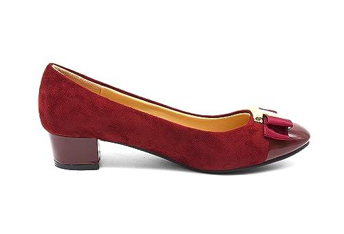 7c3f3d4f757 Oh My Shop SHF07-Bailarinas de Ante con Diseño de Zapato de Tacón con Placa  Cuadrada