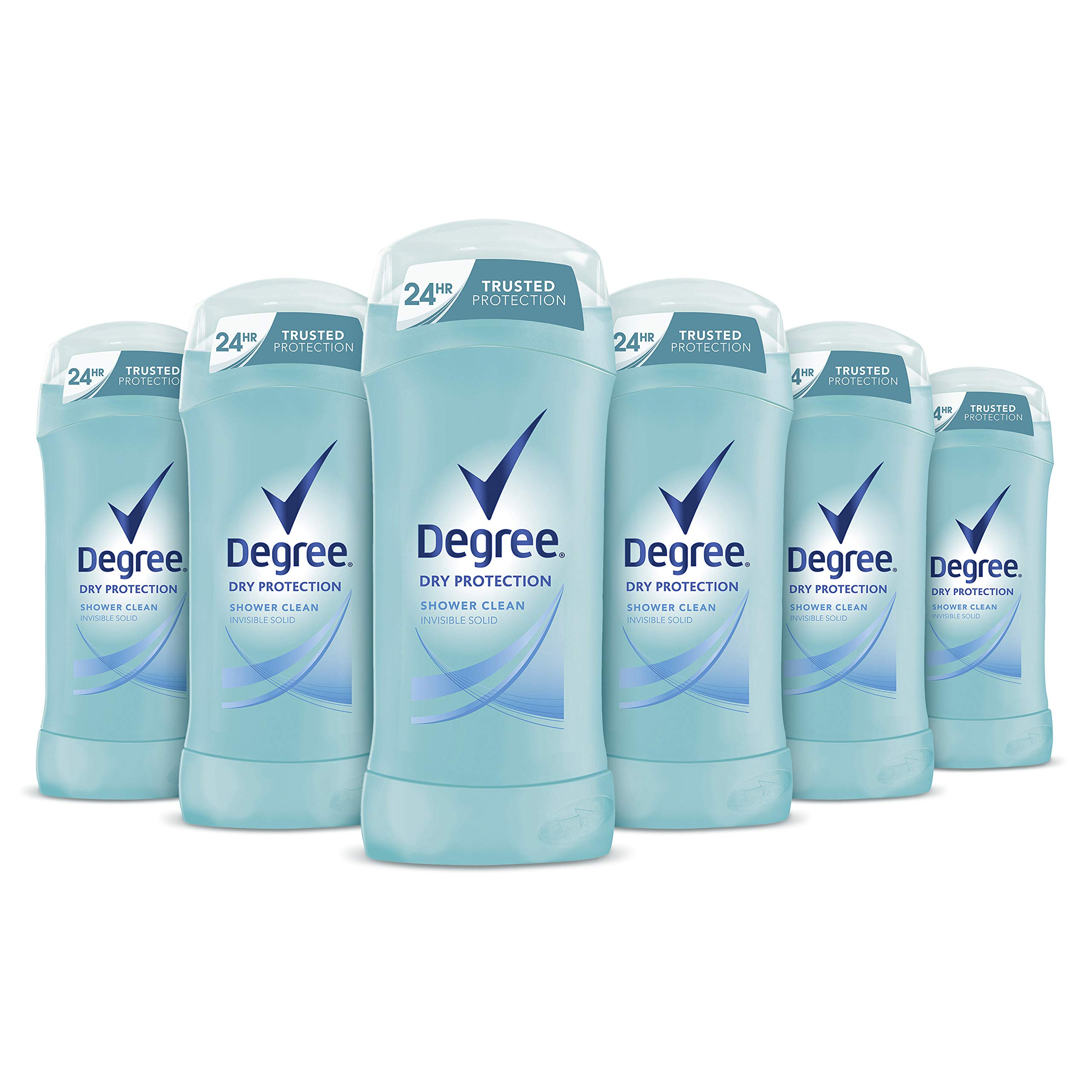 Antiperspirant Deodorant 24 Hour Dry Protection Shower Clean Deodorant for Women 2.6 oz, 6 Count