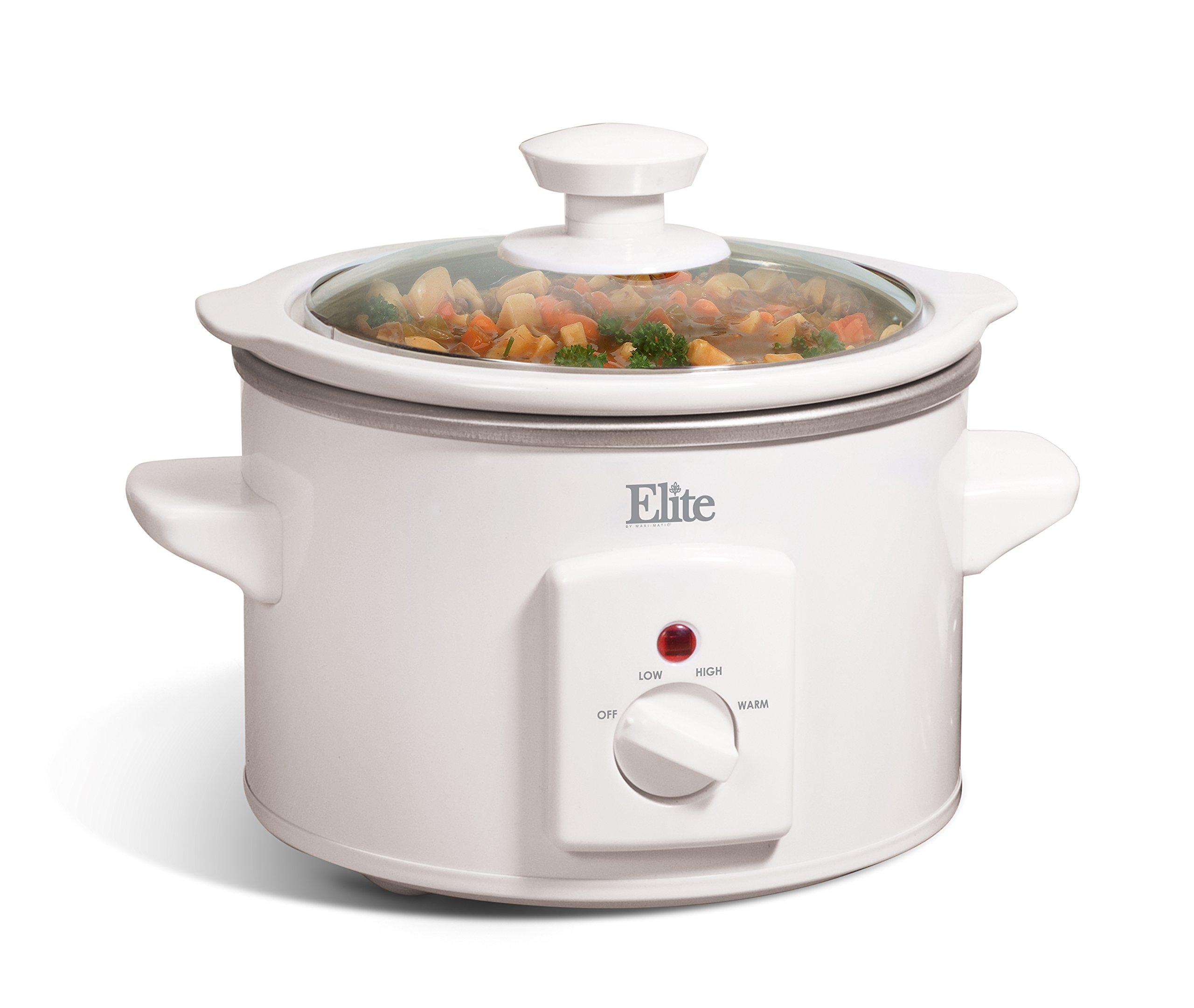 Maxi-Matic MST-250XW Elite Cuisine 1-1/2-Quart Round-Shaped Slow Cooker, White