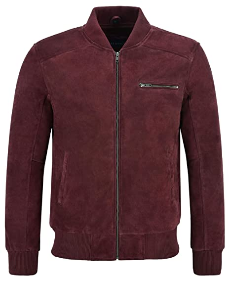 6922f583f 70'S Bomber Leather Jacket Cherry Suede Classic Retro 100% Real ...