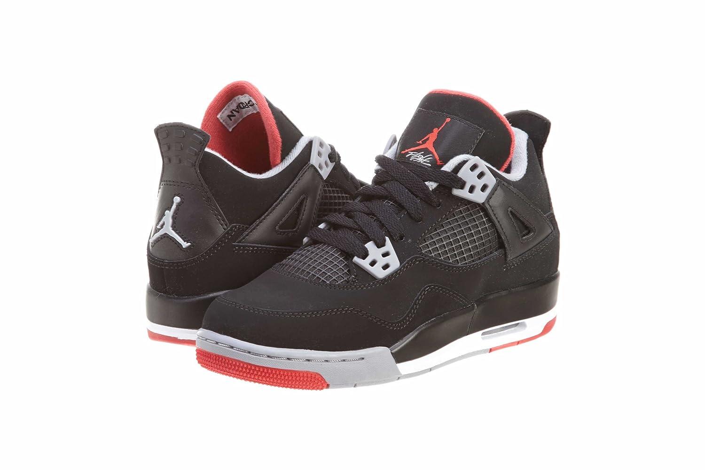 9bb112fc3a173a Amazon.com  Jordan Air 4 Retro Big Kids Style  408452-089 Size  3.5 Black   Shoes