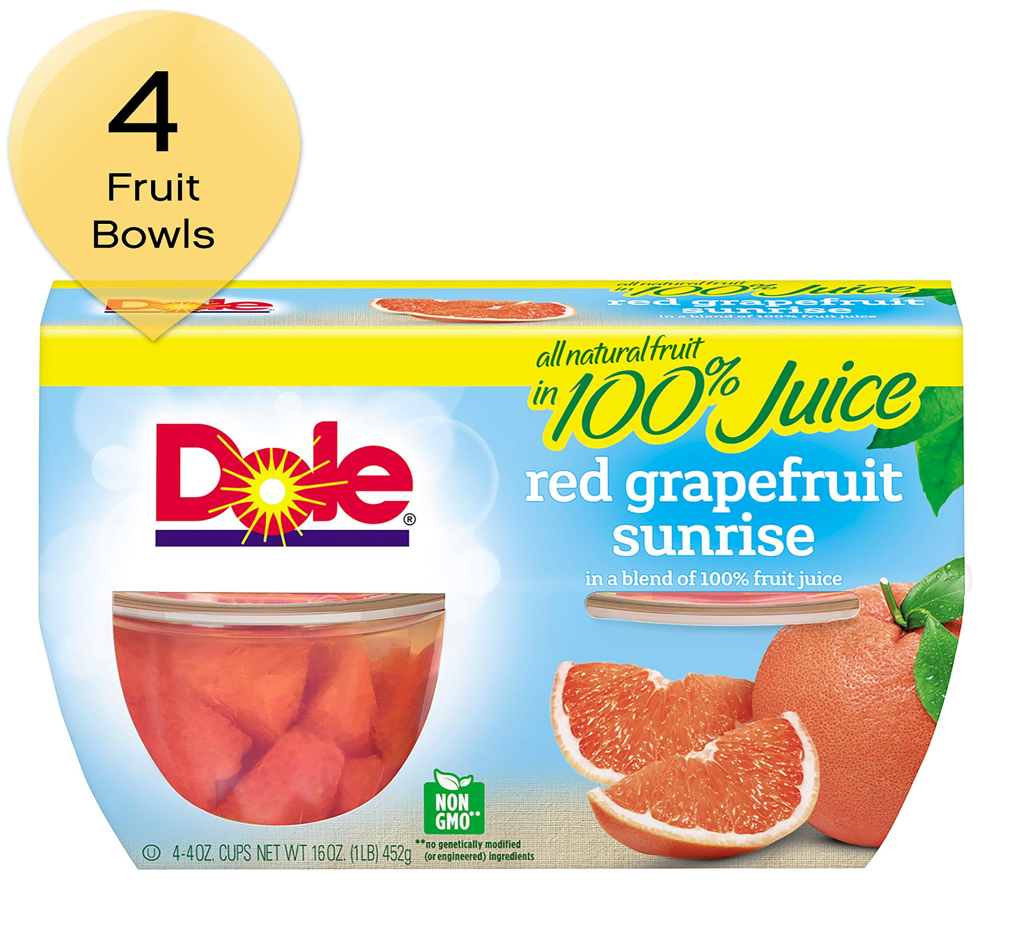 Dole, Red Grapefruit in Juice, 16 Oz, Pack of 4