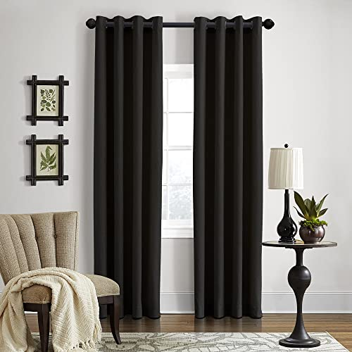 Veratex Gotham Collection Contemporary Style 100 Linen Bedroom Grommet Fastener Style Curtain, 84 Long, Black