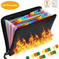 25 Pockets Fireproof File Folder Organizer A4/Letter Size Water Resistant Document Bag Money Briefcase Filing Folder with Silicone-Coated Expanding File Organizer Pouch Storage with Zipper Closure