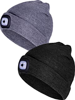 Tatuo 2 Pieces Removable LED Beanie Cap LED Knitted Flashlight Winter Hat  with 3 Mode Lights fb879c64ee3d