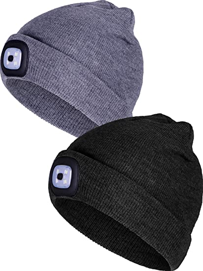 ef4667e4 Amazon.com: Tatuo 2 Pieces Removable LED Beanie Cap LED Knitted Flashlight Winter  Hat with 3 Mode Lights, Black, Gray: Sports & Outdoors