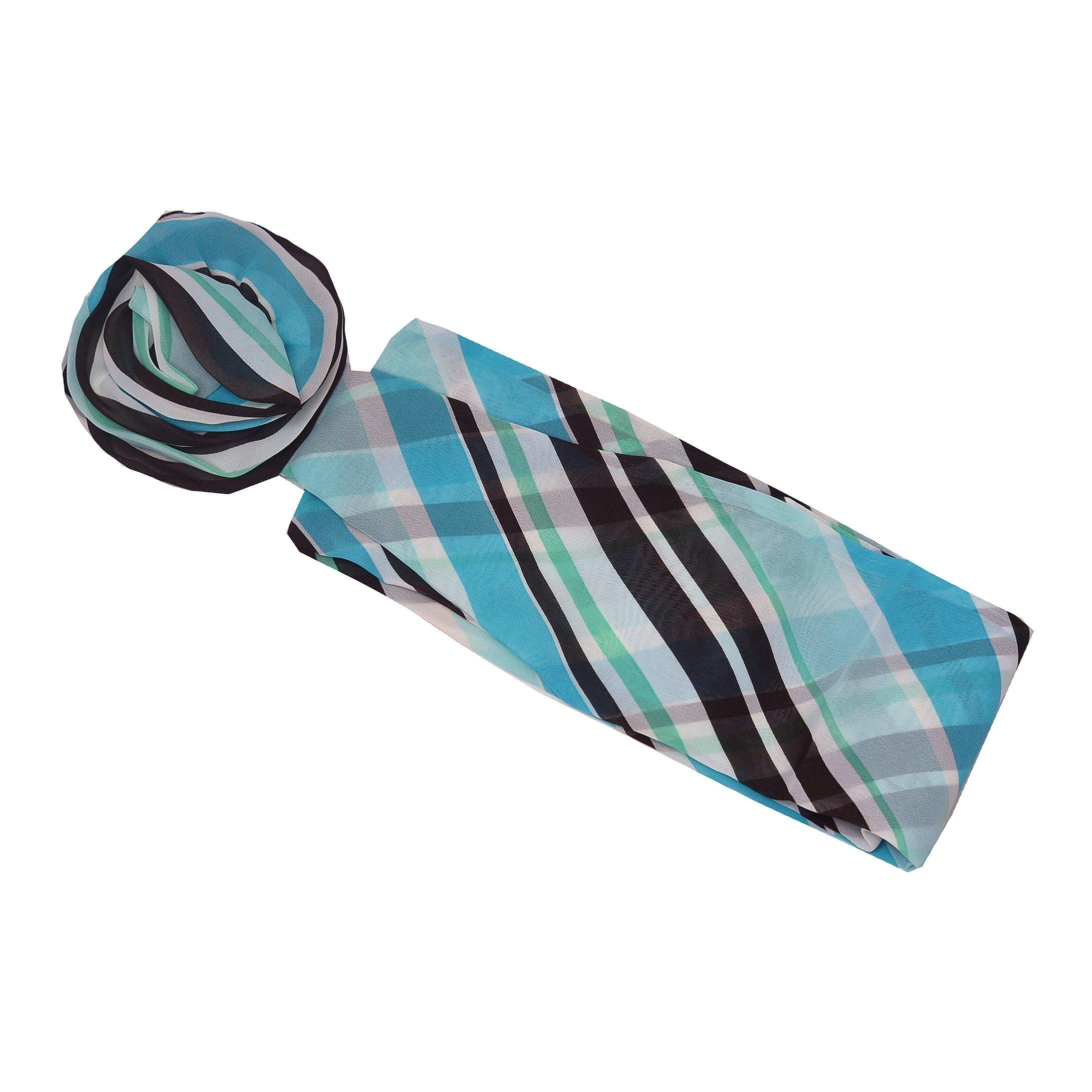 Girls Turquoise Black Plaid Pattern Rosette Accent Sash Belt 3.5 x 50 Length