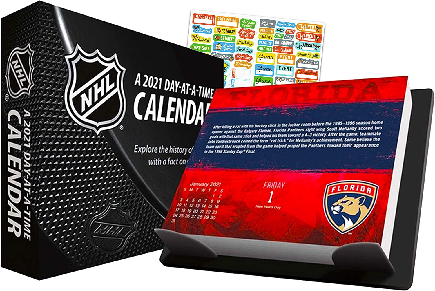NHL 2021 Calendar, Box Edition Bundle - Deluxe 2021 Day-at-a-Time Box Calendar with Over 100 Calendar Stickers (NHL Gifts, Office Supplies)