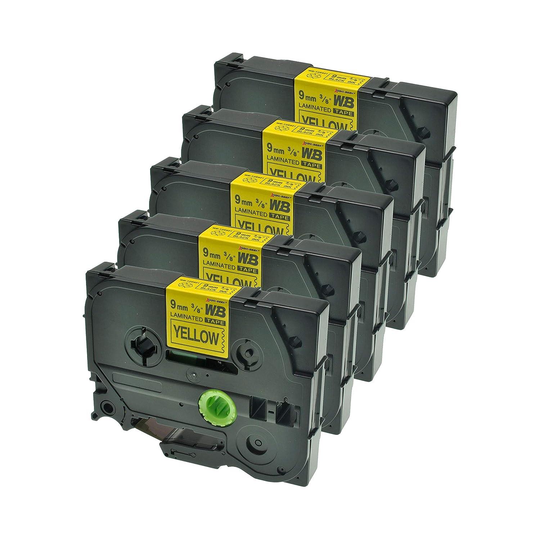 Schwarz auf Gelb Logic-Seek 5 Schriftb/änder kompatibel f/ür Brother TZE-621 9mm//8m