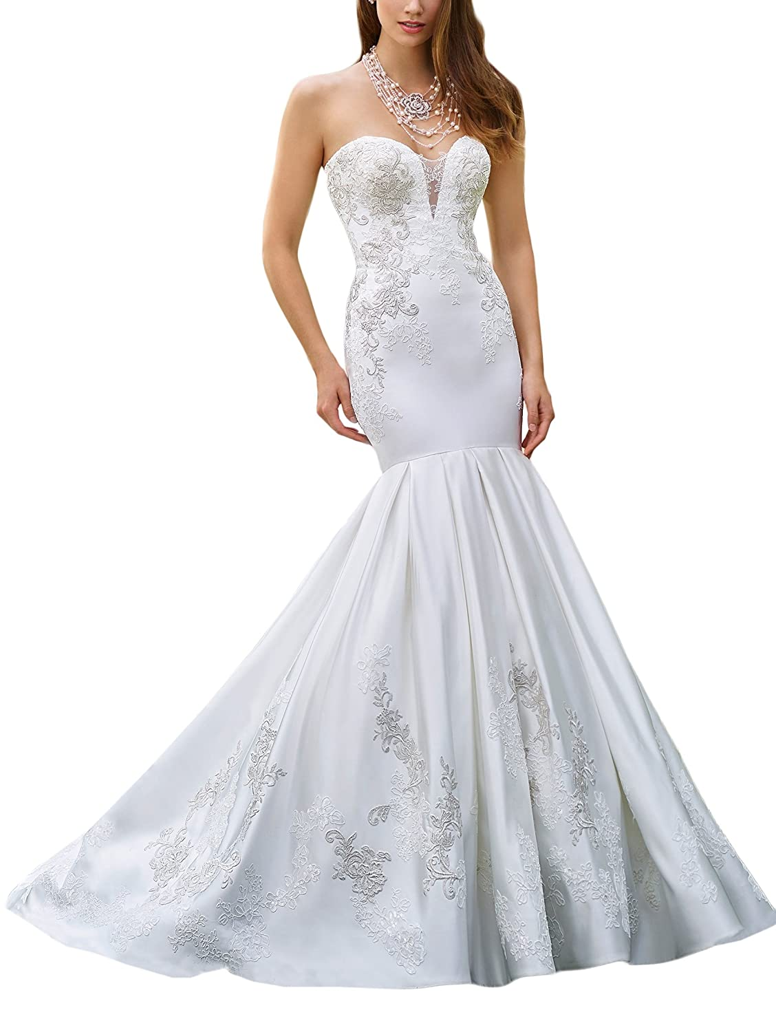 fa5822bdf0 Doramei Women s Sheath Satin Lace Appliques Backless Sweetheart Empire Wedding  Dress for Bride Bridal Gowns at Amazon Women s Clothing store