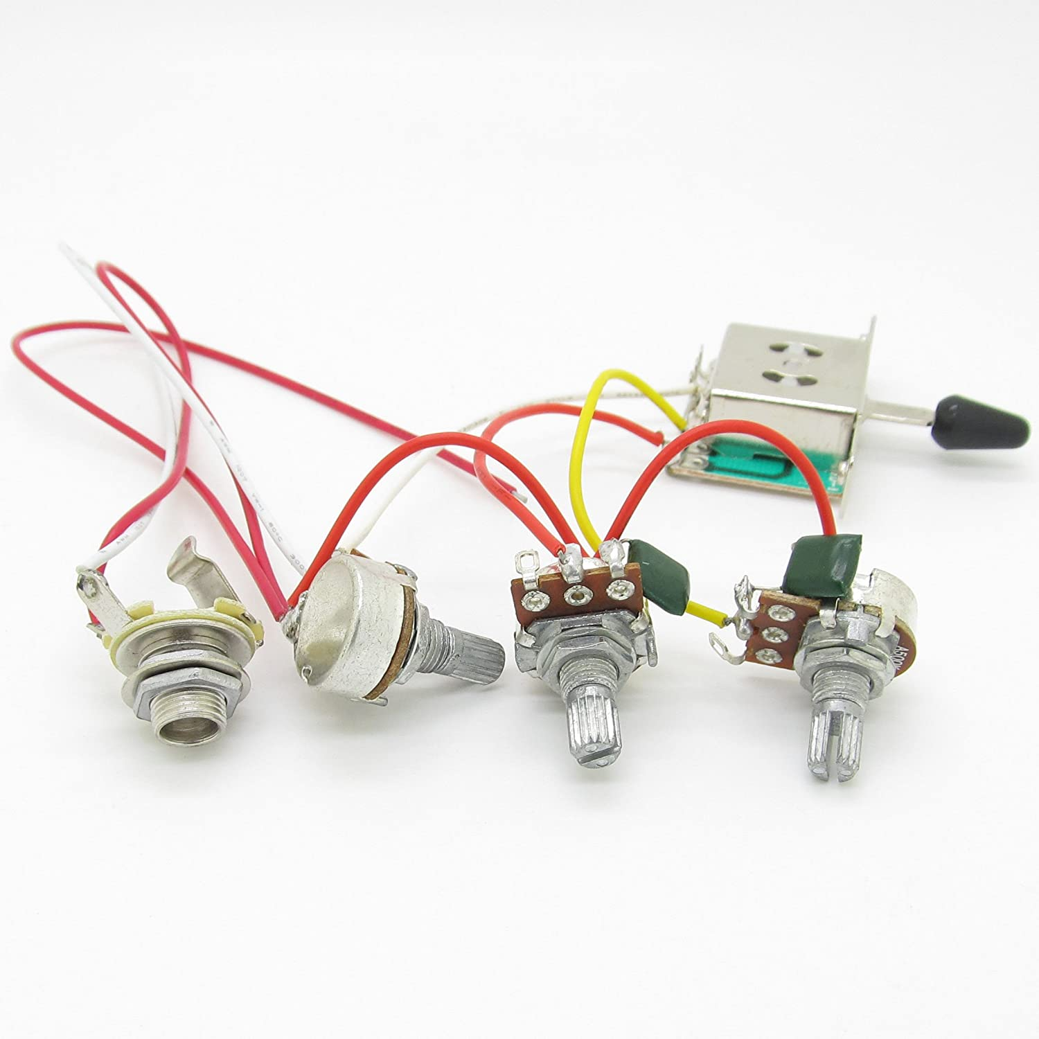 Strat Guitar Wiring Harness Prewired 3x 500k Pots 1 Volume 2 Tone Set Of 5 Way Blade Switch Full Size Control Knobs