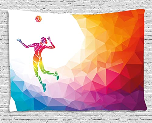 Lunarable Volleyball Tapestry, Colorful Polygonal Background Triangles with Jumping Woman Striking The Ball, Wide Wall Hanging for Bedroom Living Room Dorm, 80 X 60 , Purple Blue