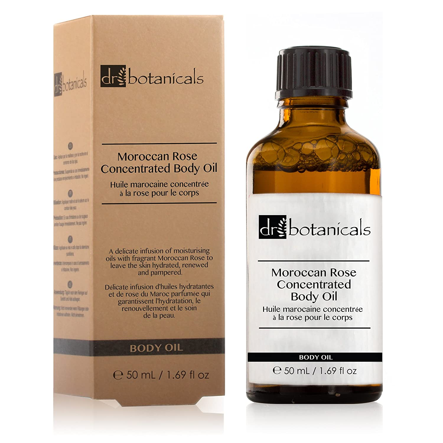 Dr Botanicals Moroccan Rose Concentrated Body Oil with Vitamins and Natural Almond Oils - Remove Instantly skin Imperfections - Made in UK - 50ml