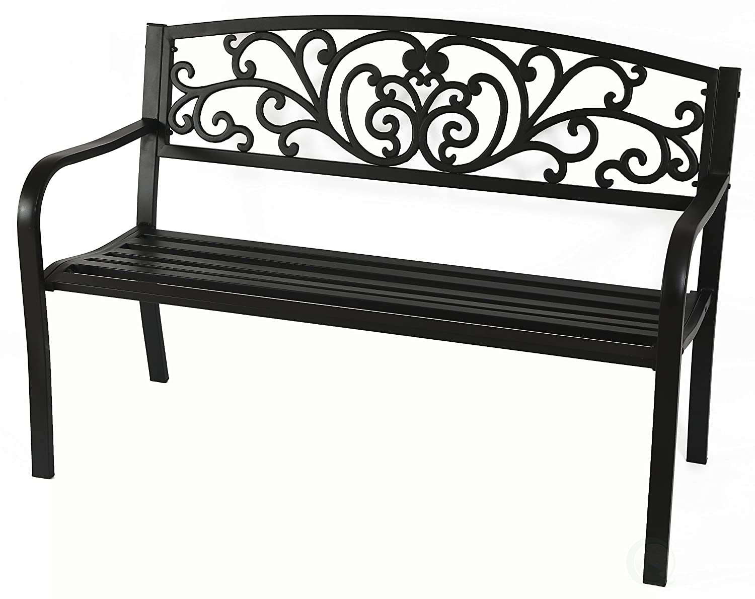 Gardenised Black Patio Garden Park Yard 50 Outdoor Steel Bench Powder Coated with Cast Iron Back QI003333L