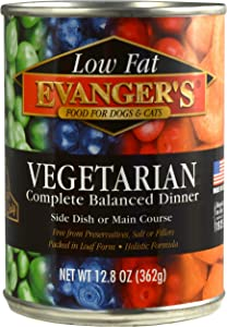 Evanger's Super Premium Low Fat Vegetarian Dinner for Dogs & Cats, 12 x 12.8 oz cans