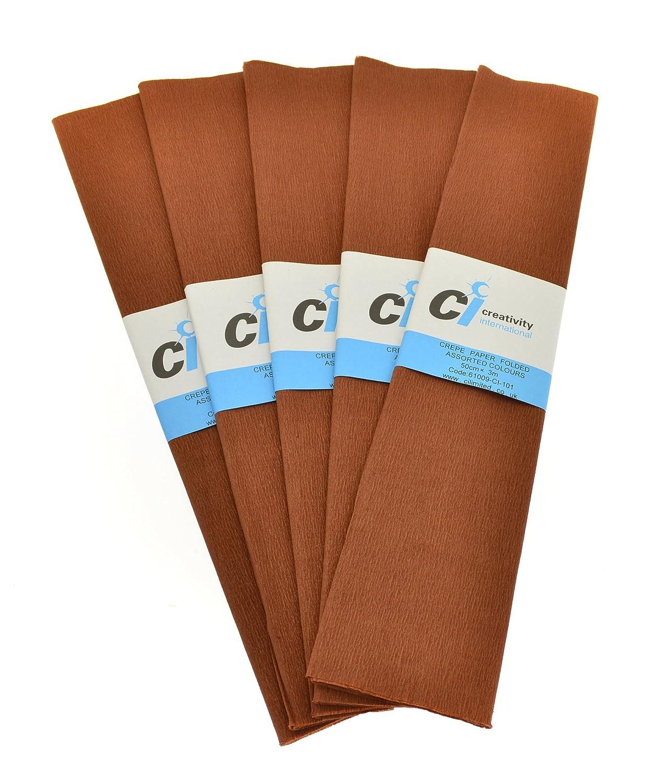 CI - Carta crespata, 50 cm x 2 m, 10 pezzi, colore marrone 6102-1