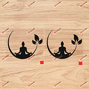 Yoga Meditation Lotus Decal Sticker Vinyl Buddhism Zen Buddha India - 2 Pack Black, 4 Inches - for Car Boat Laptop Window