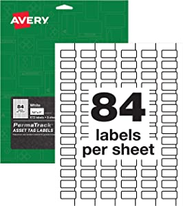 """AVERY PermaTrack Durable White Asset Tag Labels, 1/2"""" x 1"""", 672 Labels (61527)"""
