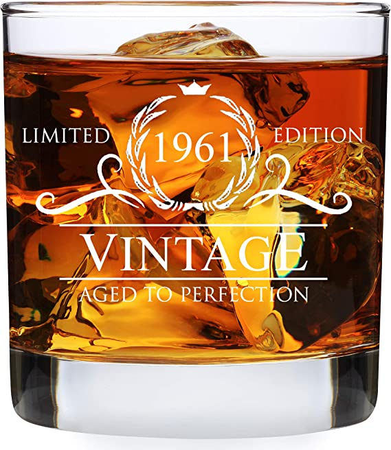 Vintage 1961 Whiskey Glass and Stones Funny 60 Birthday Gift for Dad Husband Brother 60th Birthday Gifts for Men 60th Anniversary Present Ideas for Him 60 Year Old Bday Decorations 12OZ