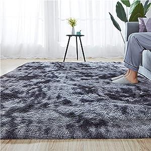 Rainlin Soft Fluffy Bedroom Rugs Indoor Shaggy Plush Area Rug College Dorm Living Room Home Decor Floor Carpet Shag Non-Slip Nursery Rugs 6x9 Feet, Dark Grey