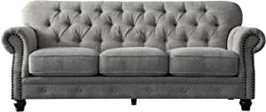 Acanva Luxury W Couch Chesterfield Chenille Tufted Living Room Sofa, 91